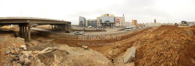 Фото въезд в Щёлково со стороны г.Фрязино (Фряновское шоссе): строительство развязки у гипермаркета «Гиперглобус» иторгового центра «Гранд Плаза» - Щелково.ru