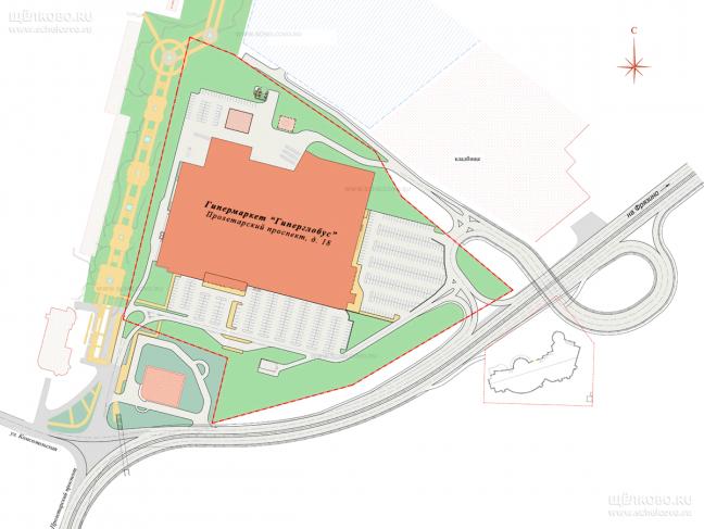 Фото проект дорожной развязки на Фряновском шоссе города Щёлково перед гипермаркетом «Гиперглобус»  - Щелково.ru