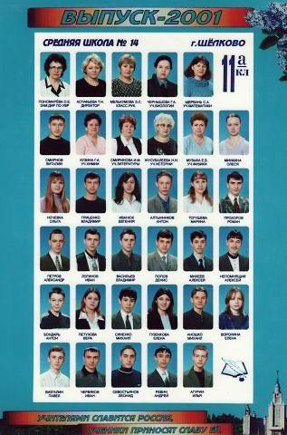 Фото выпуск 2001 года школы № 14 г. Щелково, 11 «А» класс - Щелково.ru