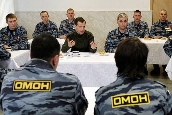 Фото встреча Президента России Д. Медведева с командным составом и бойцами ОМОНа «Зубр» - Щелково.ru
