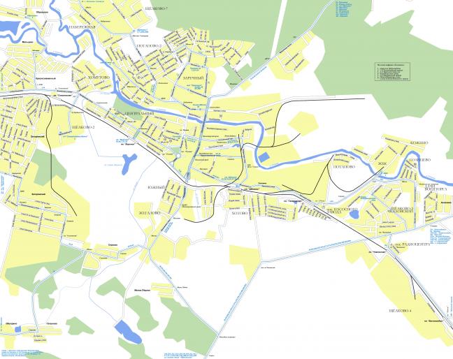Фото схема города Щелково с указанием автобусных маршрутов - Щелково.ru