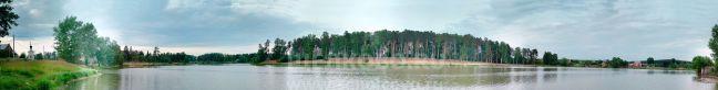 Фото вид от деревни Старая Слобода Щелковского района (южный берег Барского пруда): часовня— Барский пруд— «Шишкин» остров - Щелково.ru