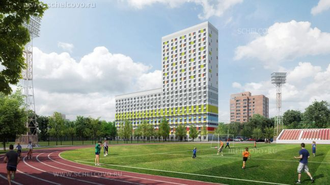 Фото проект 4-секционного жилого дома на улице Краснознаменская г. Щелково (вид со стадиона) - Щелково.ru