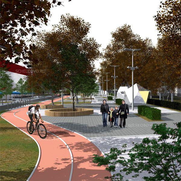 Фото проект реконструкции улицы Парковая в Щелково (слева— выделенная полоса для велосипедистов) - Щелково.ru