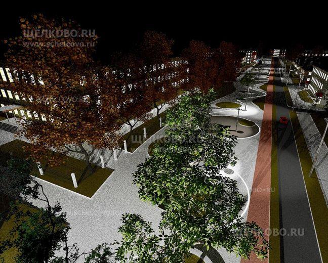 Фото проект реконструкции улицы Парковая в Щелково (слева— Щёлковский лицей) - Щелково.ru