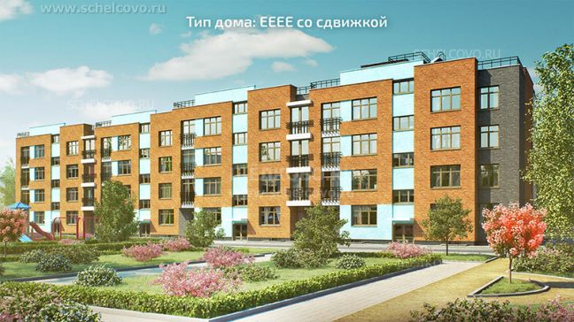 Фото проект дома типа ЕЕЕЕ со сдвижкой в жилом комплексе «Анискино» - Щелково.ru