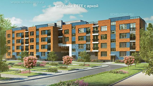 Фото проект дома типа ЕЕЕЕ с аркой в жилом комплексе «Анискино» - Щелково.ru