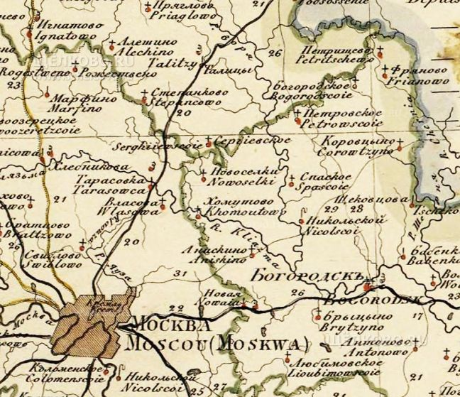 Фото карта северной части Богородского уезда Московской губернии - Щелково.ru