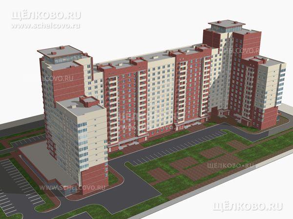 Фото проект 12-14-17-этажного дома № 17 по ул.Центральная г. Щелково; слева внизу— 2-й Центральный проезд - Щелково.ru