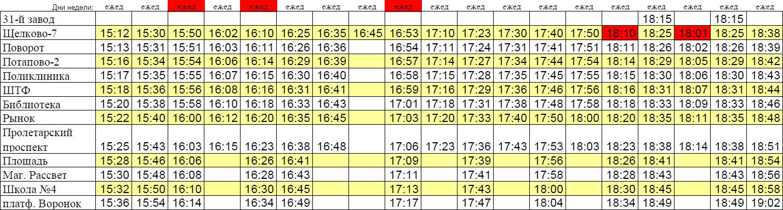 Автобус 7 Щелково. Расписание 7 автобуса Щелково (Щелково-7 - станция Воронок)