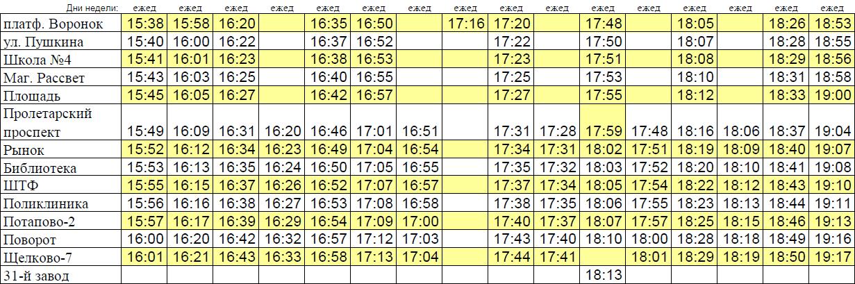 Расписание движения автобуса  40  Основные остановки